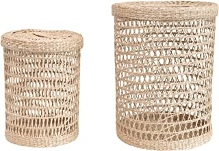 Bloomingville Hand-Woven Seagrass Lids, Natural, Set of 2 Basket, 2
