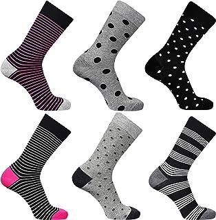 DOUBLE M, Pack 4 o 6, Calcetines Estampados Hombre Mujer, Calcetines Divertidos, Calcetines Altos, Calcetines Algodón, Diferentes Diseños, Talla Única 38-46.