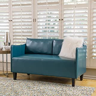 Christopher Knight Home Nile Teal Bonded Leather Loveseat