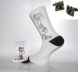 Glam Novelty Socks - Sock & Cufflink Sets Calcetín y Gemelos–Calcetines de Color Blanco con 3Cute Monos y Monos Gemelos. Un Gran Regalo para Navidad, cumpleaños, día del Padre, Regalo.