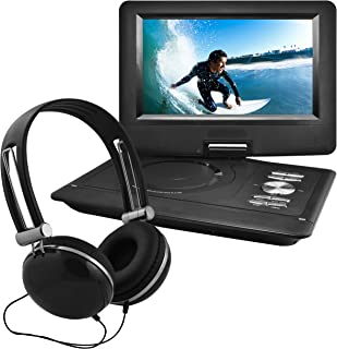 Ematic Portable DVD Player with 10-inch LCD Swivel Screen, Headphones and Car Headrest Mount, Black