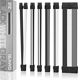 EZDIY-FAB Sleeved Cable - Cable Extension for Power Supply with Combs, PSU Extension Kit- Black Grey and White