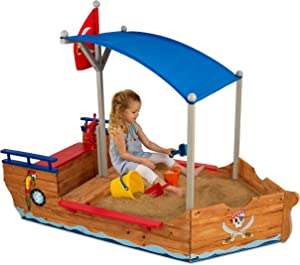 KidKraft Wooden Pirate Sandbox with Canopy, Covered Children's Sandbox, Outdoor Furniture - Blue & Red, Gift for Ages 3-8