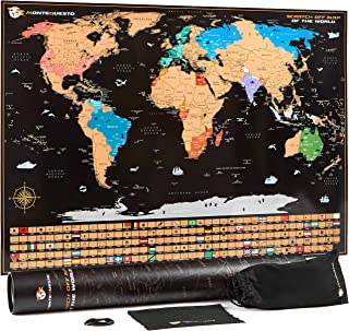 MonteQuesto Scratch Off Map of The World and Wall Travel Poster with US States - Displays Continents, Countries, Cities and Flags – Vacation and Travel Memory Keeper – Fits On A Fridge Door