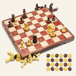 UNEEDE Jeu d'échecs 32x32,2 en 1 Jeu de Jeu d'échecs et de Dames Standard avec Conception Pliante portative pour des Enfan...