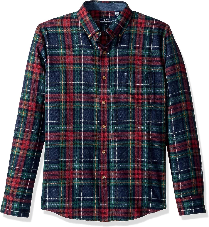 IZOD Men's Slim Fit Stratton Long Sleeve Button Down Plaid Flannel Shirt