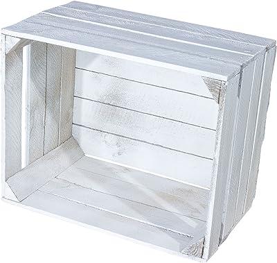 Juego de 4 Shabby Chic Vintage Caja de madera – Manzana Caja – cajón-estantería – Fruta (en blanco 50 x 40 x 30 cm: Amazon.es: Hogar