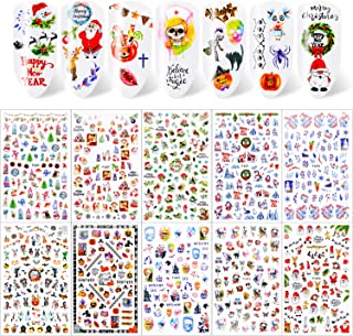 Konsait 650+pcs Halloween and Christmas Nail Stickers, Self-Adhesive 3D Nail Decals, Holiday Nail Stickers for Women Girls...