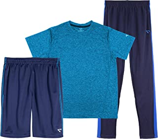 CHEETAH Boys 3 Piece Athletic Mesh T-Shirt, Shorts, and Tapered Track Pants Set