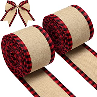 2 Rolls Buffalo Plaid Wired Edge Ribbons Christmas Burlap Fabric Craft Ribbon Natural Wrapping Ribbon Rolls with Checkered...