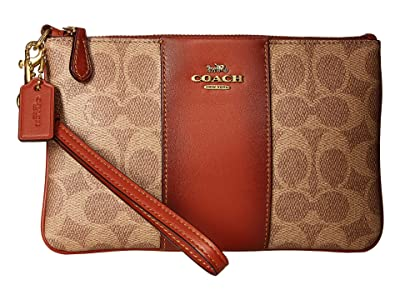COACH Color Block Coated Canvas Signature Small Wristlet (B4/Tan Rust) Wristlet Handbags