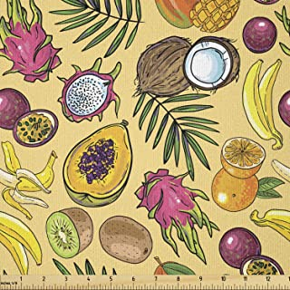 Grape By the Yard 85782 Apple Lemon Orange Fruits Cotton Fabric Kiwi Blueberry Pear Peach Banana Strawberry Watermelon Pineapple