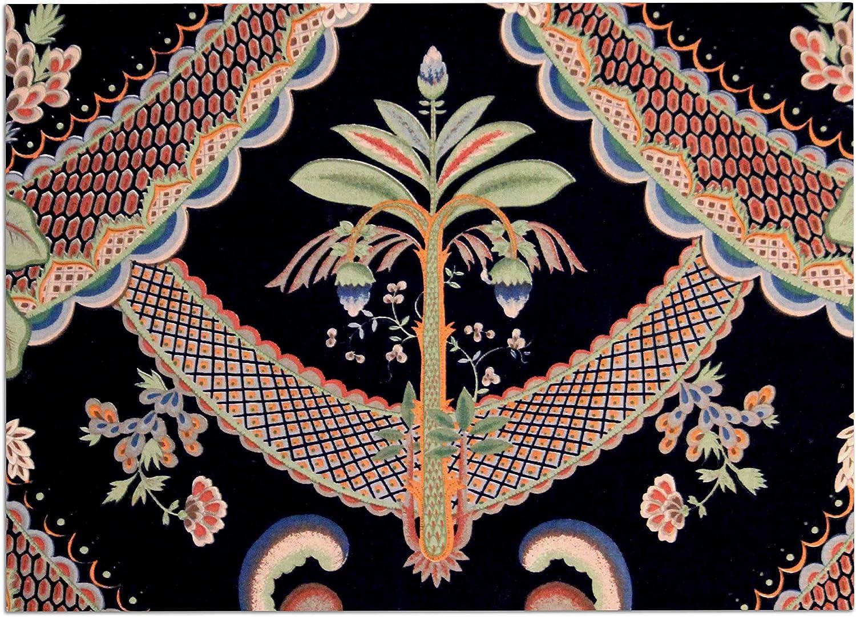 KESS InHouse Philip Brown Vintage Paisley Pattern  Black Art Deco Dog Place Mat, 13  x 18