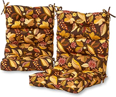 Greendale Home Fashions AZ6809S2-TIMBFLORAL Russet Floral Outdoor High Back Chair Cushion (Set of 2)