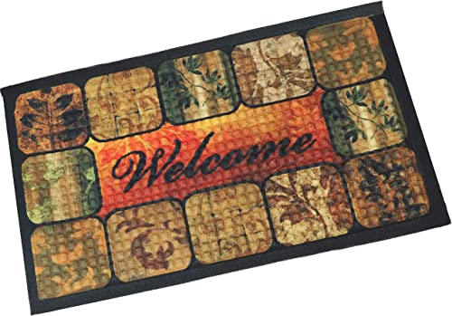 """2021 Sunnydaze new arrival 17.5"""" x 29"""" Indoor Entrance Mat - 75-Percent Rubber and 25-Percent Polypropylene Construction - Low Profile, online Nonslip Design - Perfect for The Mudroom, or Entryway - Brown Floral online sale"""