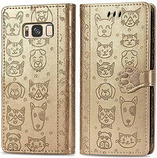 جراب محفظة من الجلد الصناعي من Mylne Samsung Galaxy S8 Plus ذهبي