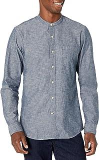 Amazon Brand - Goodthreads Men's Slim-Fit Long-Sleeve Band-Collar Chambray Shirt