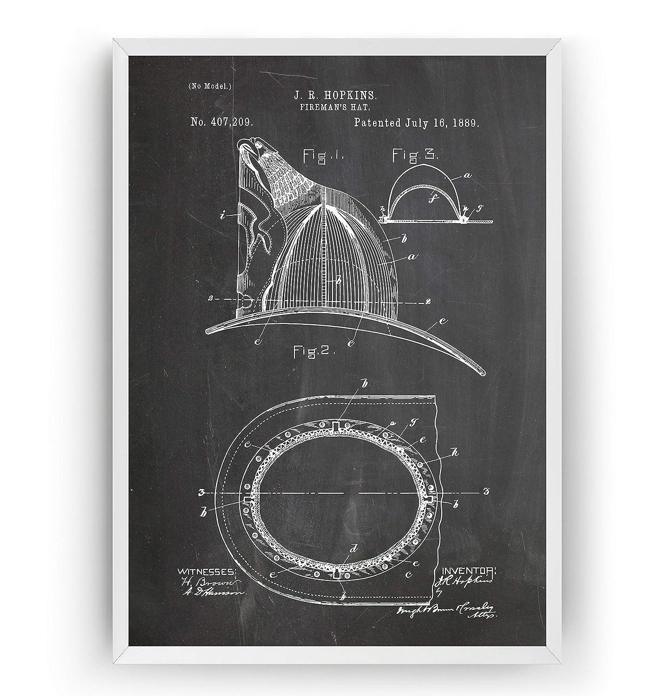 Fireman's Hat 1889 Patent Print - Engine Gift shopping Fathe Fireman Fire Brand Cheap Sale Venue