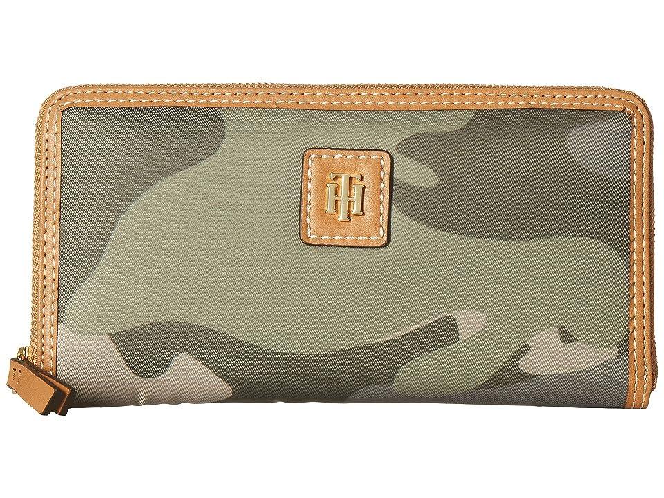 Tommy Hilfiger Julia Large Zip Camo Nylon Wallet (Green) Wallet Handbags