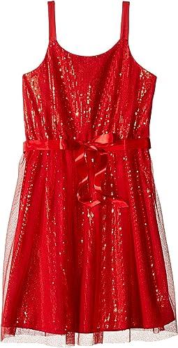 Sequin Tank Sheath Dress w/ Netting Overlay (Big Kids)