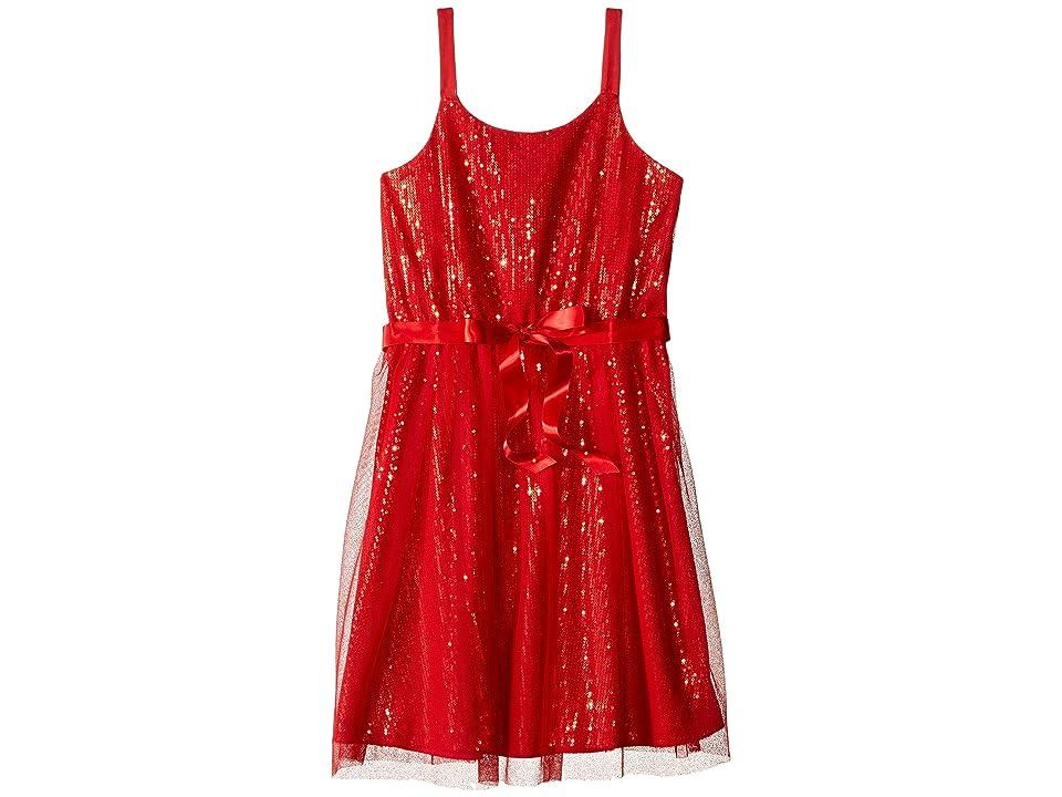 Us Angels Sequin Tank Sheath Dress w/ Netting Overlay (Big Kids) (Red) Girl