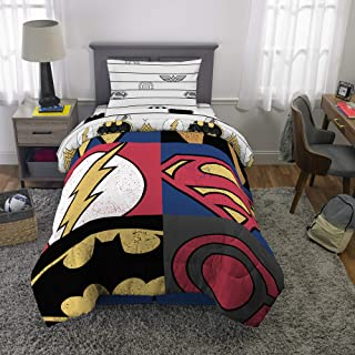 Franco Kids Bedding Super Soft Microfiber Comforter and Sheet Set, 4 Piece Twin Size, Justice League