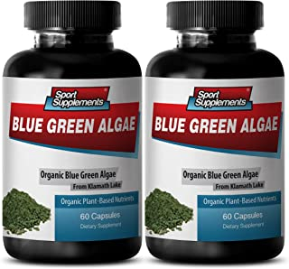Pure Green Superfood from Klamath Lake to Promote Healthier and Younger Looking Skin - Blue Green Algae 500mg (2 Bottles 120 Capsules)