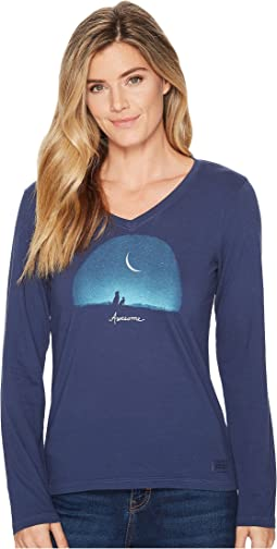 Awesome Night Long Sleeve Crusher Vee