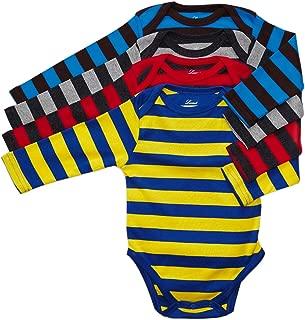 Baby Onesie Boys Girls 4-Pack Striped & Solid Baby Bodysuit Underwear 100% Cotton (3-24 Months)