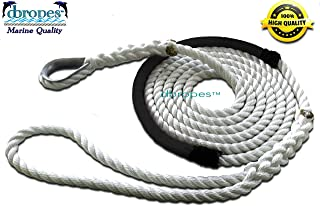 dbRopes 3 Strand Mooring Pendant Premum 100 Nylon Rope Line 1/2 X 12 Ft with Chafe Guard and Thimble, Tensile Strength 6400 Lbs. Made in USA