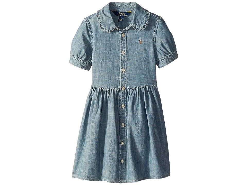 Polo Ralph Lauren Kids Ruffled Chambray Dress (Little Kids) (Indigo) Girl