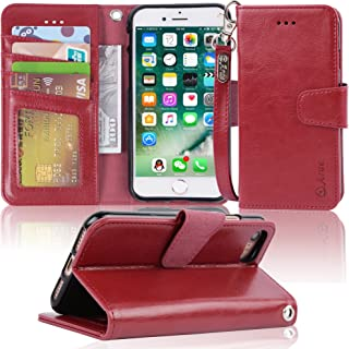 Arae Case for iPhone 7 / iPhone 8, Premium PU Leather Wallet Case with Kickstand and Flip Cover for iPhone 7 (2016) / iPhone 8 (2017) 4.7 inch (not for iPhone 7/8 Plus) - Wine red