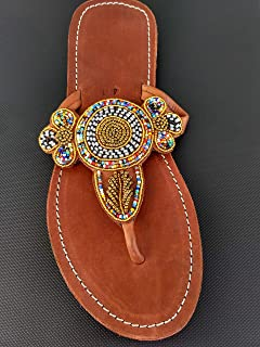 African Maasai Sandals - Handmade Leather Flip Flops - Size 10 (41 Europe) Sole length 10.51 inches/26.7 cm - Handcrafted in Kenya - Multicolor, Golden, KS35