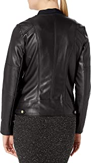 Calvin Klein Women's Moto Jacket with Detailed Seams and Zippers
