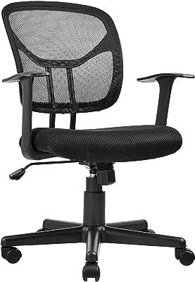 Amazon Basics Mid-Back Desk Office Chair with Armrests - Mesh Back, Swivels - Black