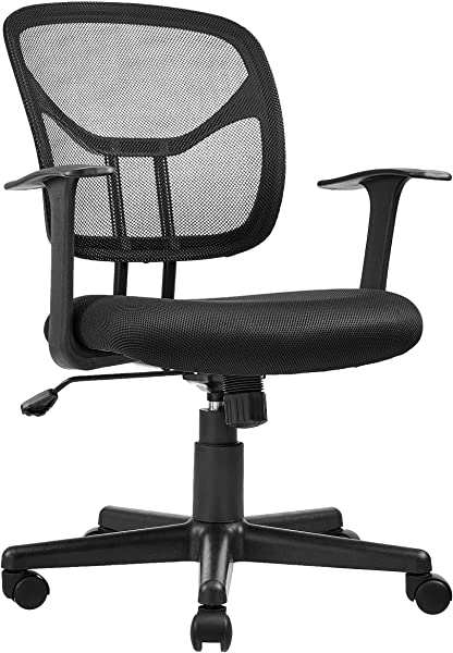 AmazonBasics Mid Back Desk Office Chair With Armrests Mesh Back Swivels Black