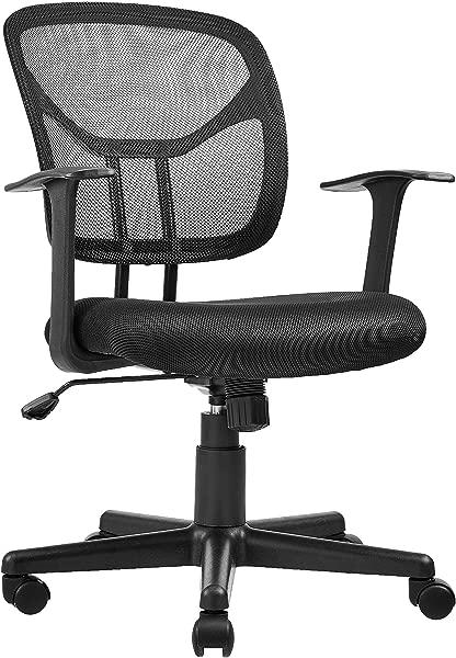 AmazonBasics Mid Back Desk Office Chair With Armrests Mesh Back Swivels Black