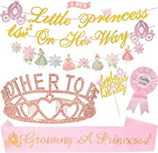 Baby Shower Decorations for Girl, Mother to Be Tiara Hearts Crown, Little Princess On Her Way Banner,Growing A Princess Sa...