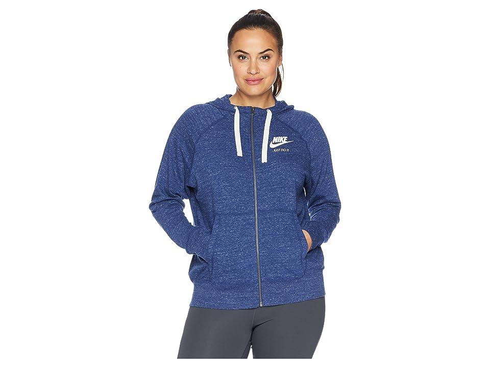 Nike Plus Size Gym Vintage Full Zip Extended Hoodie (Blue Void/Sail) Women