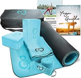 Complete 6 Piece Yoga Set 6mm Dual Layer Non-Slip TPE Yoga Mat, 2 EVA Foam Blocks, 6' Cotton Strap, Mat Sized Exercise Towel & Carrying Case- Perfect Kit for Any Yogi & Beginners