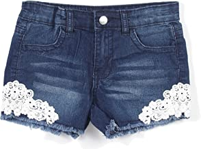 Girls' Stretch 4 Pockets Denim Jeans Shorts with Lace