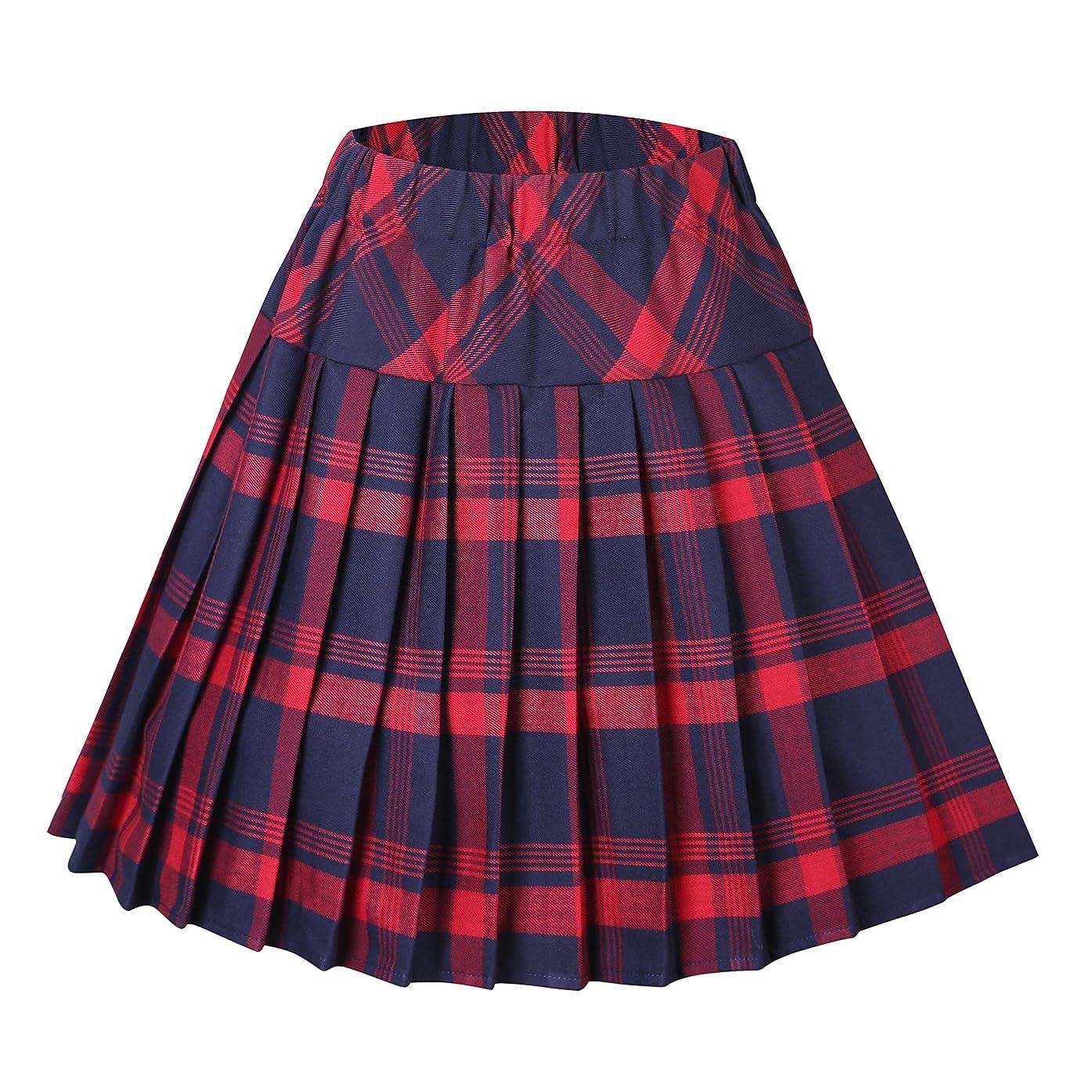Women's Tartan Elastic Pleated Plaid Skirts Schoolgirls Mini A-line Skirt Cosplay Costumes