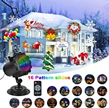 Christmas Projector Light, KMASHI 16 slide Projector Light with Remote Control Timer Show Landscape Lamp, Waterproof Holiday LED Light for New Year Birthday Party Easter Day Halloween Decorations