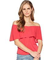 London Times Neck Ruffle V-Neck ITY Blouse