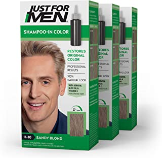 Just For Men Shampoo-In Color (Formerly Original Formula), Gray Hair Coloring for Men - Sandy Blond, H-10, Pack of 3 (Packaging May Vary)