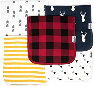 KiddyStar 5-Pack Baby Burp Cloths, Organic Cotton, Large 21x10, Triple Layer, Thick, Soft and Absorbent Towels, Burping Rags for Newborns, Baby Shower Gift for Boys and Girls