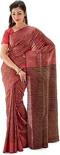 SareesofBengal Women's Pure Bishnupuri Silk Handloom Kantha Stitch Saree Maroon