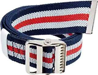 """Transfer Belt with Metal Buckle by LiftAid - Transfer and Walking Aid with Belt Loop Holder for Assisting Patients, Nurses, Therapists, Home Care - 60""""L x 2""""W (Red White Blue)"""