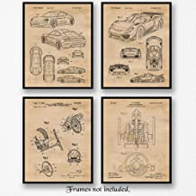 Original Porsche Past & Future Patent Art Poster Prints, Set of 4 (8x10) Unframed Photos, Wall Art Decor Gifts Under 20 for Home, Office, Man Cave, College Student, Teacher, Germany Cars & Coffee Fan