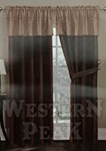 Western Peak Texas Western Embroidery Barbed Wire Window Suede Curtain Lining 2 Panel